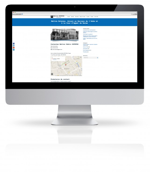 Site internet pour Avocat réalisé par l'agence Chimère. Conception graphique et site en responsive design.