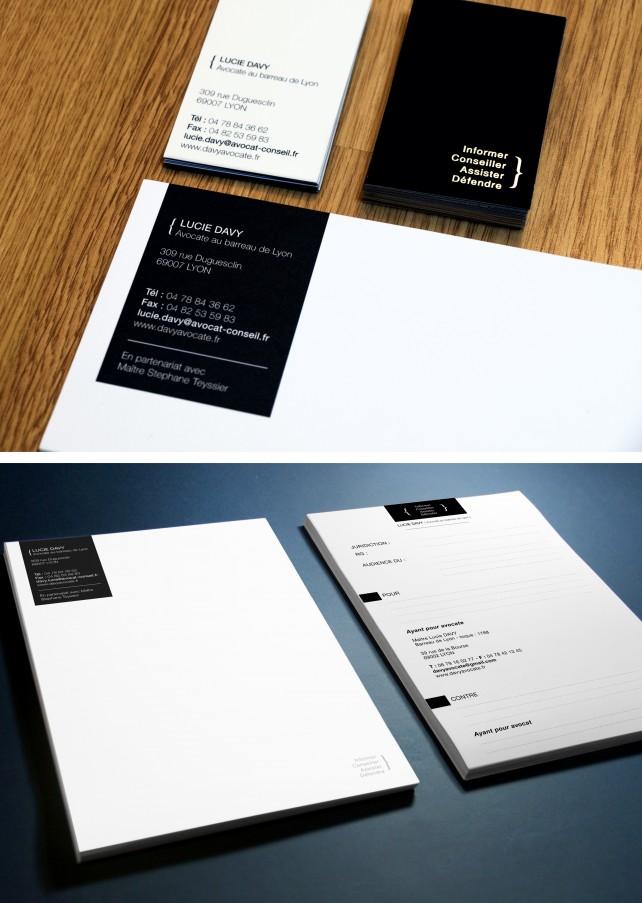 entête de lettre, carte de visite d'avocat et carte de correspondance. Réalisation par l'agence Chimère.