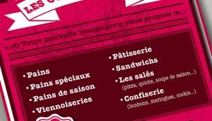 Flyer design et flyer original pour la boulangerie Grenobloise. Conception graphique par l'agence Chimère.