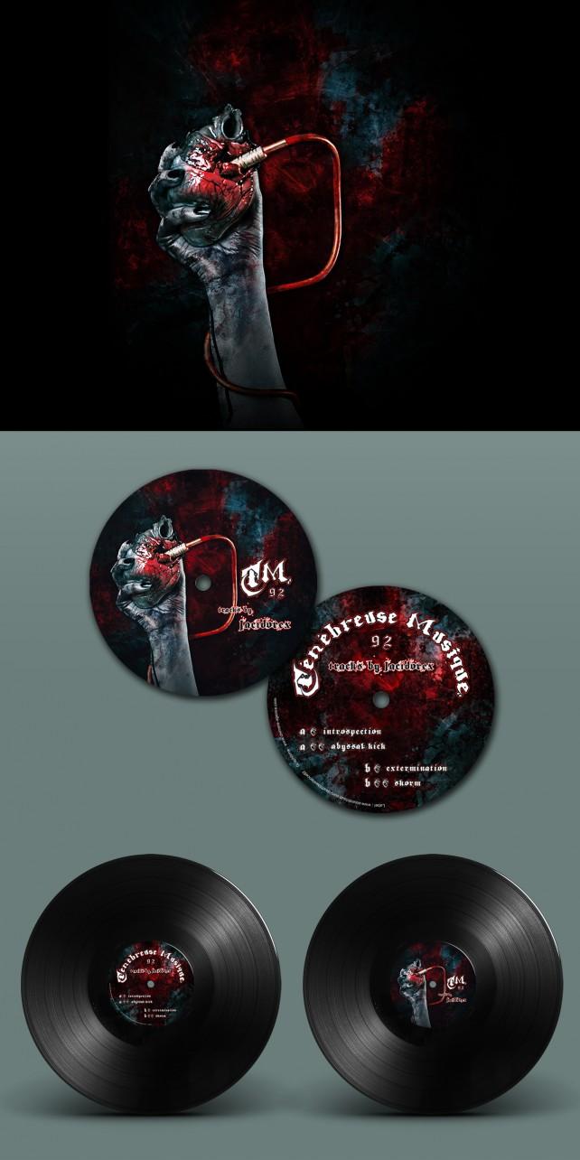 Illustration et photomontage du disque vinyle TM92, pour le label Ténébreuse Musique. Conception graphique par l'agence Chimère.