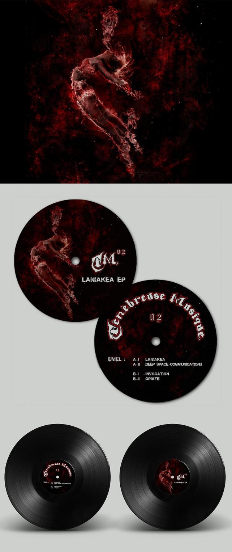 Illustration et photomontage réalisés pour le disque vinyle TM02 du label Ténébreuse Musique. Conception graphique par l'agence Chimère.