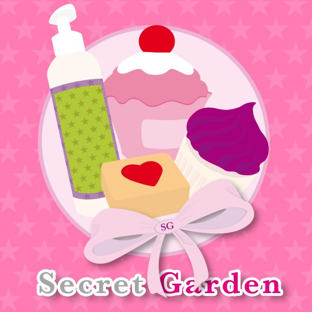 Illustration réalisée pour la photo de profil du compte facebook de la société de cosmétique Secret Garden. Conception graphique par l'agence Chimère.