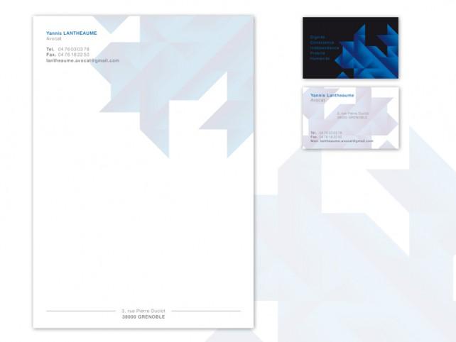 Carte de visite design pour Avocat et entête de lettre. Conception graphique par l'agence Chimère.