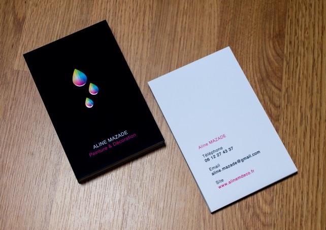 Carte de visite design, réalisation par l'agence Chimère pour un peintre et décorateur. Impression couleur, pelliculage mat soft touch et vernis sélectif 3D.