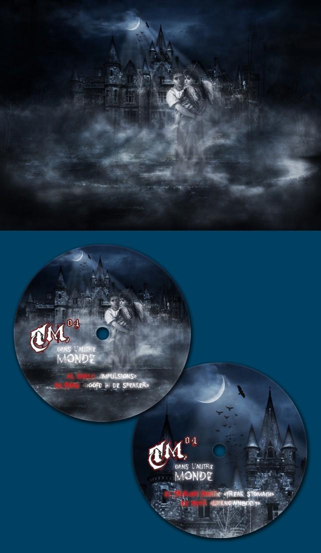 Illustration et photomontage pour le macaron du disque vinyle TM04, pour le label Ténébreuse Musique. Réalisation par l'agence Chimère. Graphiste indépendant à Lyon.